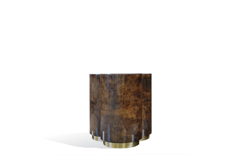 3 Clover Side Table - Goatskin/Brass Base by Scala Luxury