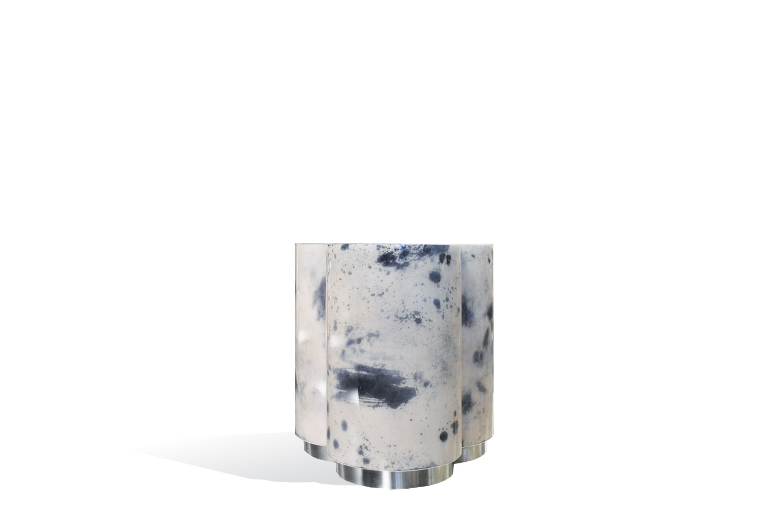 3 Clover Side Table - Goatskin/Stainless Base by Scala Luxury