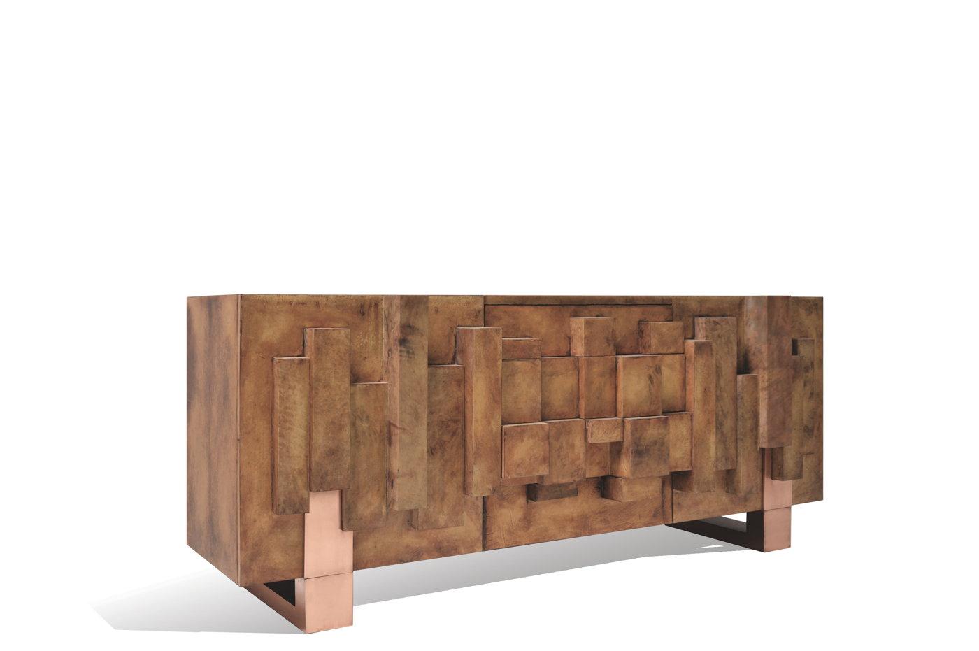Brutalist sideboard goatskin copper by scala luxury