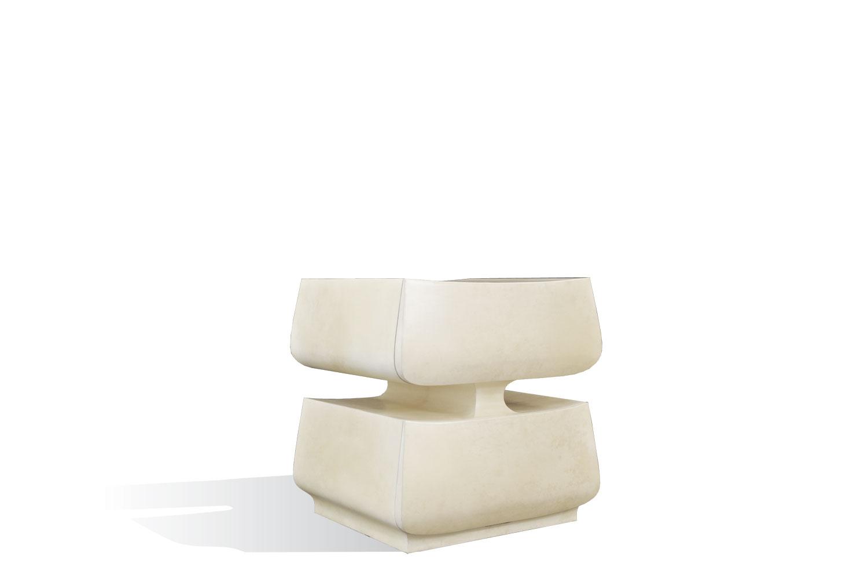 2 tier side table - bleached goatskin by Scala Luxury
