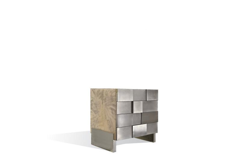 checkered nightstand – Light Grey by Scala Luxury