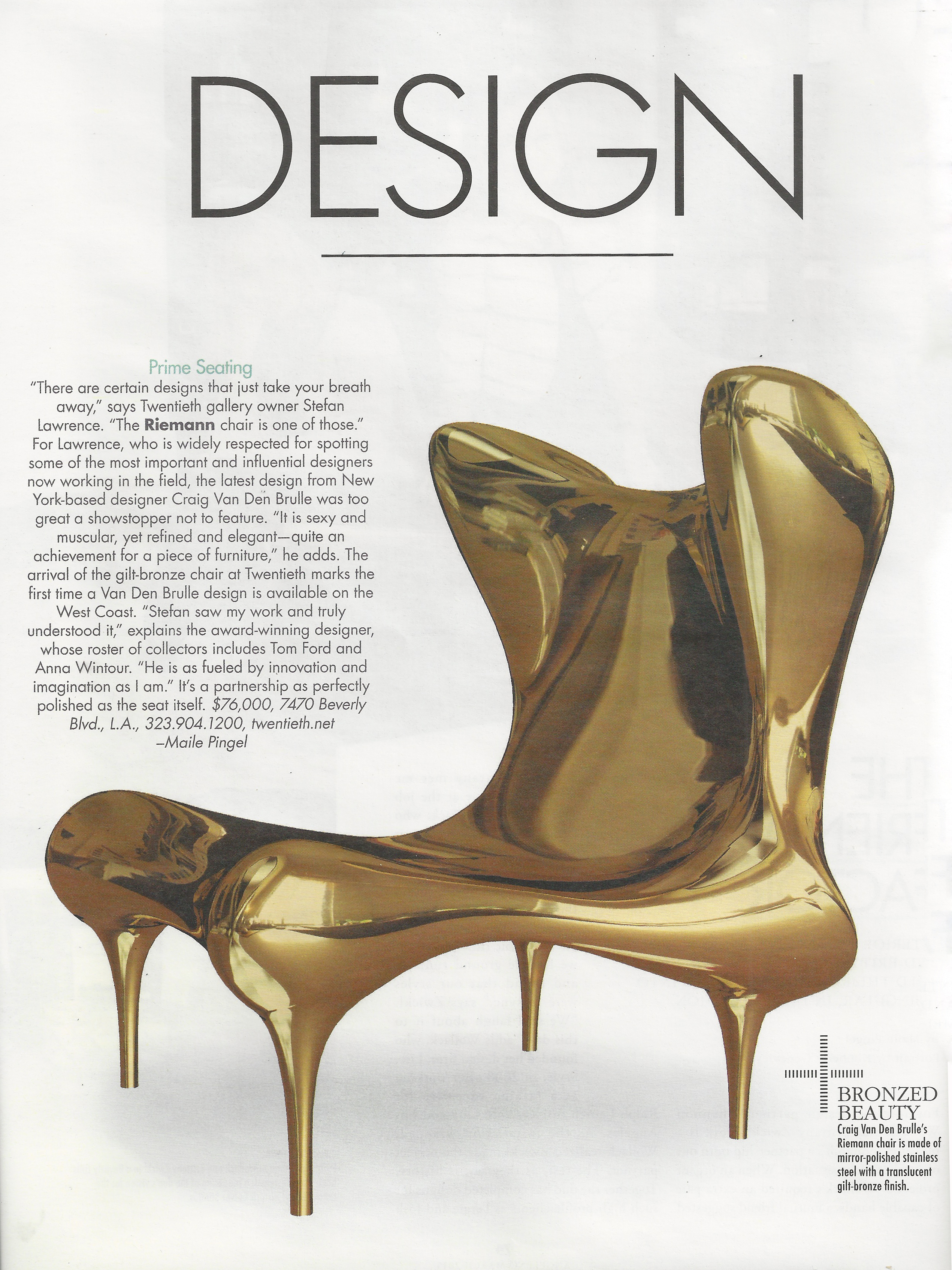 The Riemann Chair featured in Angeleno Magazine